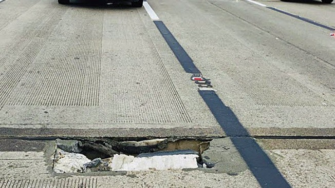 Sinkhole Halts Traffic on Highway 101 in South San Francisco