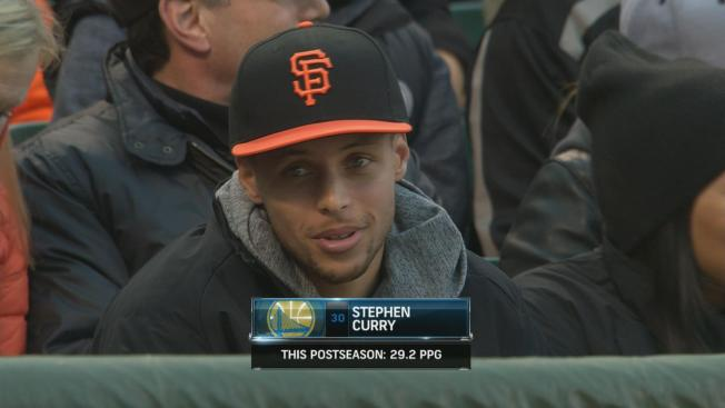Golden State Warriors Guard Stephen Curry Takes in San Francisco Giants Game