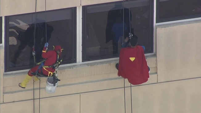 Superheroes Come to the Rescue, Clean Windows at Oakland Children's Hospital