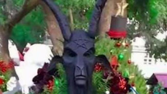 Goat Head Topper on Satanic Temple's Christmas Tree Is Gone - Goat Head Tree Topper Missing From Satanic Temple Of San Jose's