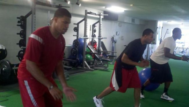 Raiders Players Working Out During the Lockout