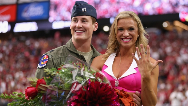 Air Force Captain Proposes to Cardinals Cheerleader During NFL Game
