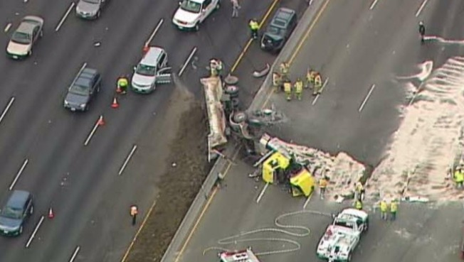 Big-Rig Flips on I-680 in Walnut Creek, Snarls Traffic