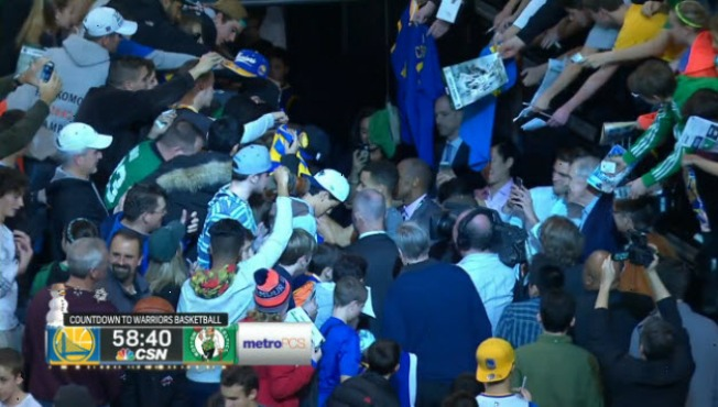 Stephen Curry Mobbed by Celtics Fans Before Warriors Game in Boston