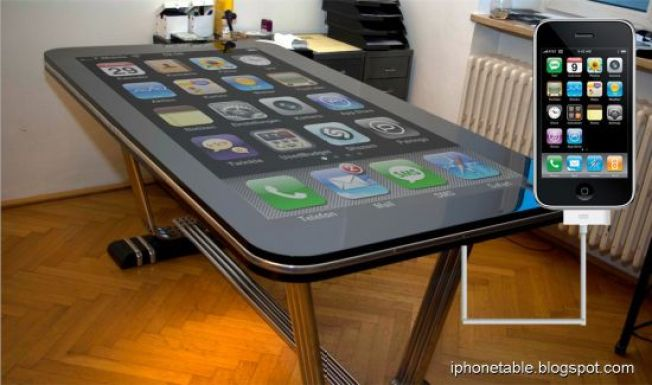 Humongous 58-inch Multi-Touch iPhone Desk Actually Works