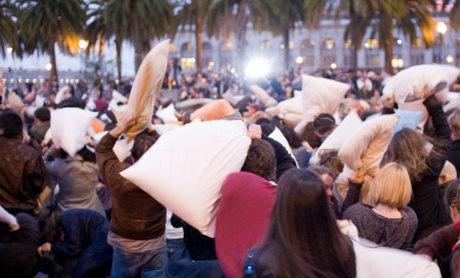Pillow Fighters Undaunted by Rain