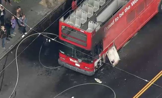 2 Transported to Hospital After Tour Bus Catches Fire in San Francisco