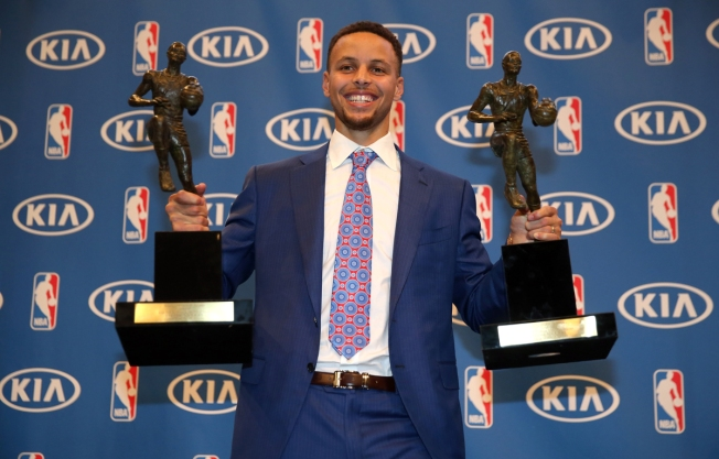 Steph Curry's MVP Trophies on Display at Golden State Warriors Team Store
