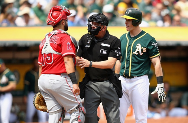 A's Beat Angels in Chippy Affair, End Eight-Game Skid