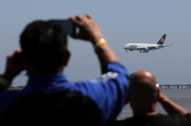 Jumbo Airliner Touches Down at SFO