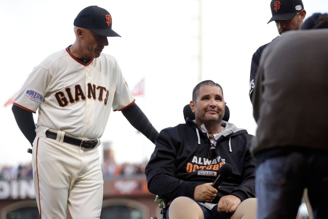 Bryan Stow Shouts 'Play Ball!' Before Game 4 of World Series