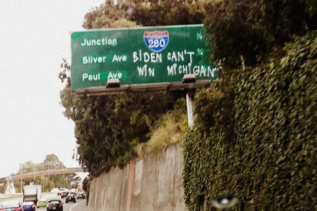 'Biden Can't Win Michigan' Graffiti Appears on SF Freeway During Democratic State Convention