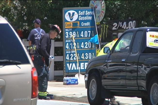 Fuel Spill Caused by Gas Station Crash Mopped Up in San Mateo