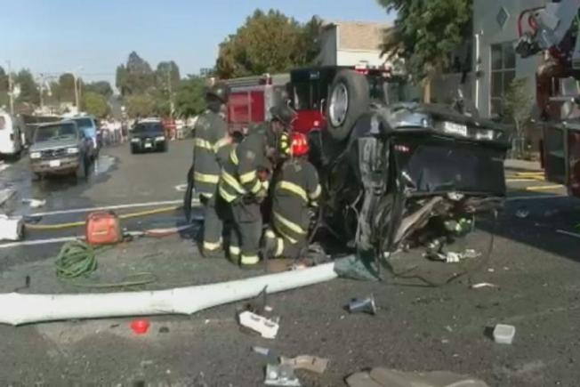 Six Injured After Three Cars, Fire Truck Collide in Vallejo