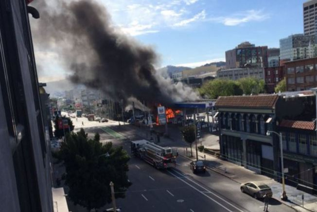 Bus Catches Fire at SoMa Gas Station