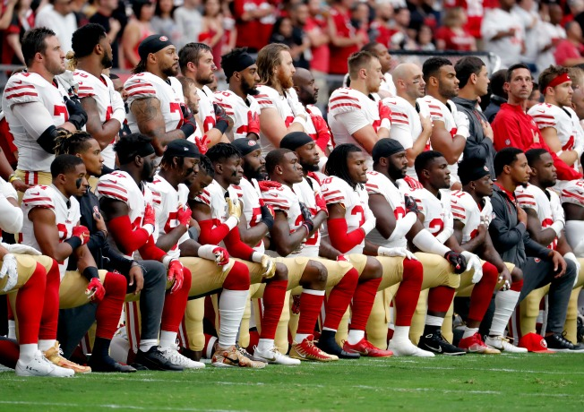 49ers Promote Message of Unity as Several Players Kneel for National Anthem