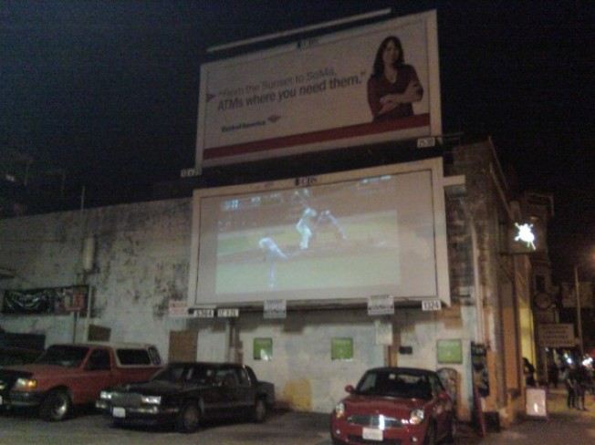 Watch the Giants on a Back Alley Big Screen