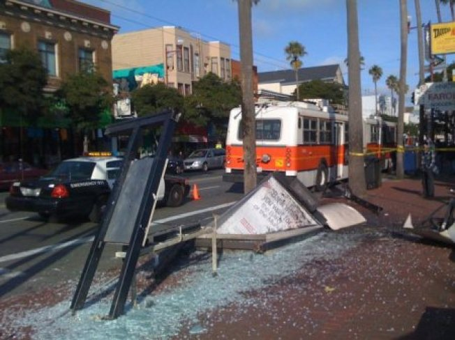 Muni Bus Destroys Shelter