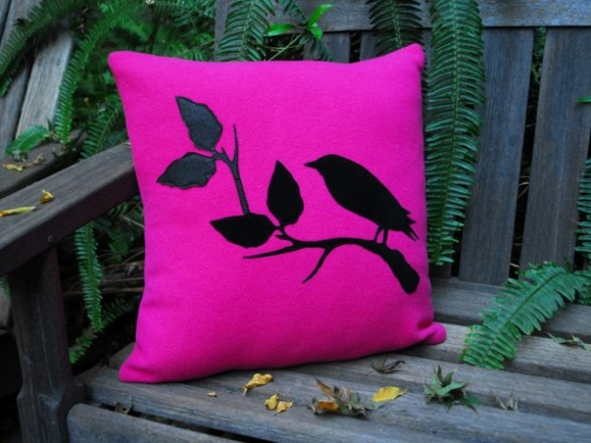 Felt and Suede Bird Pillow