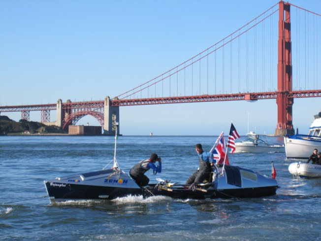 Row Boat Arrives in Golden Gate -- From Japan
