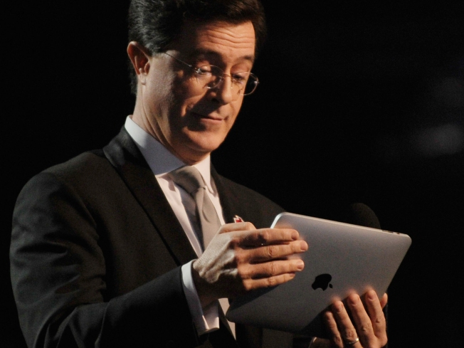 Stephen Colbert Shows Off iPad at Grammys