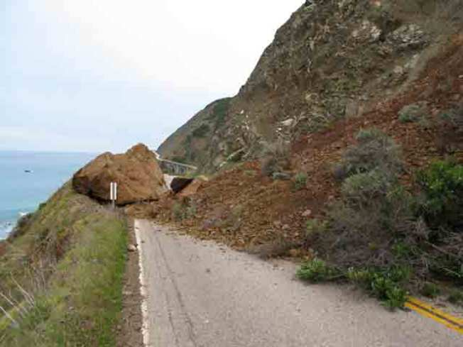 Highway One Shut Down by Falling Rocks