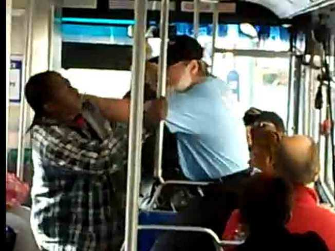 YouTube Transit Brawl 3: Man Bloodies Younger Passenger