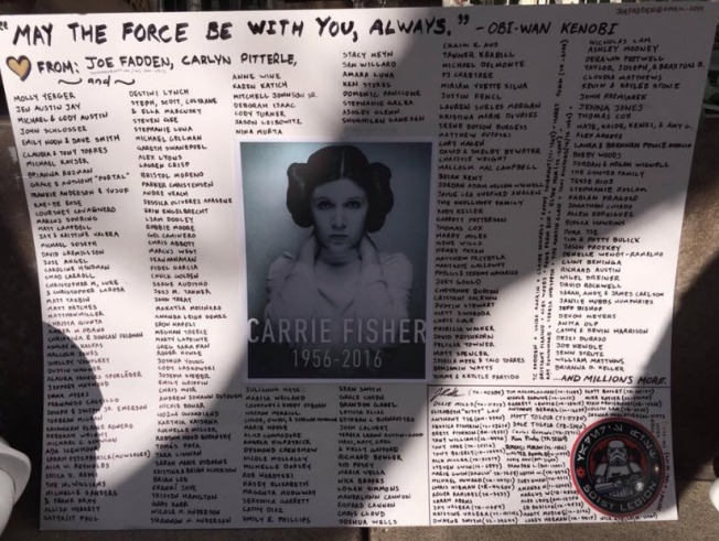 Fans Pay Tribute to Princess Leia Under Yoda Fountain