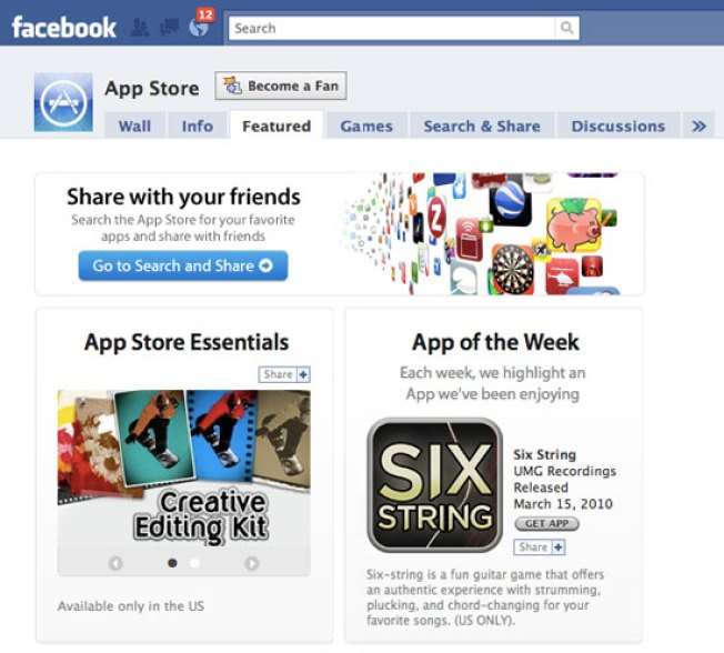 The iTunes App Store Is Now on Facebook