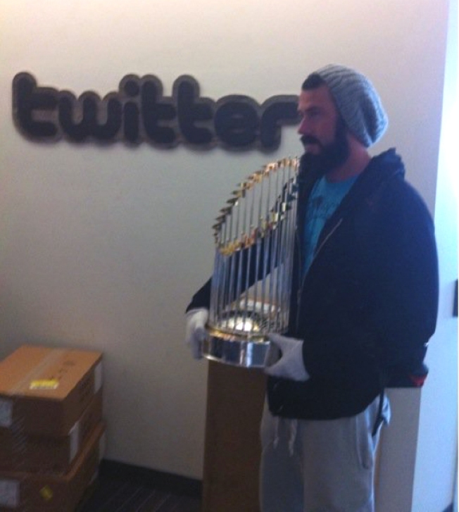 Brian Wilson Takes the Beard, World Series Trophy to Twitter HQ