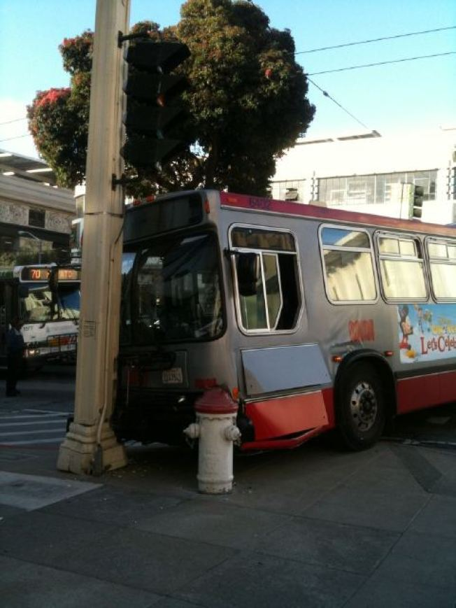 Muni Bus Crashes into Pole