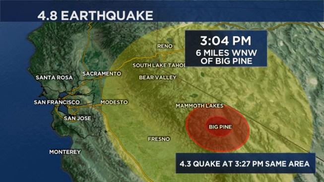Magnitude 4.8 Quake Strikes Near Big Pine, California, East of Fresno