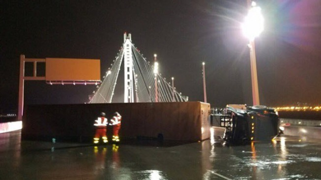 Overturned Big-Rig Sparks Traffic Jam on Bay Bridge