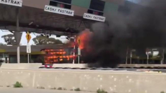 Truck Fire at Benicia-Martinez Bridge Toll Plaza