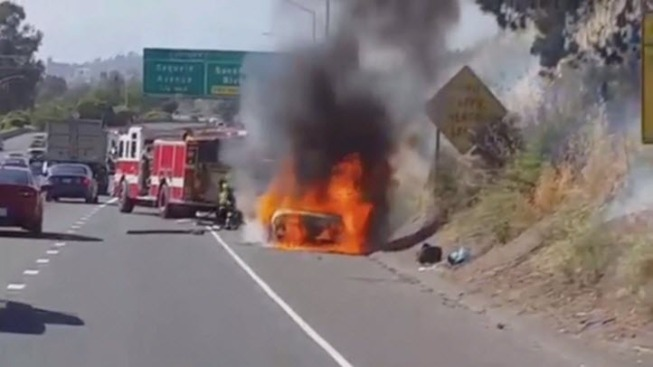 Vallejo Wildfire Sparked By Vehicle on Interstate 80