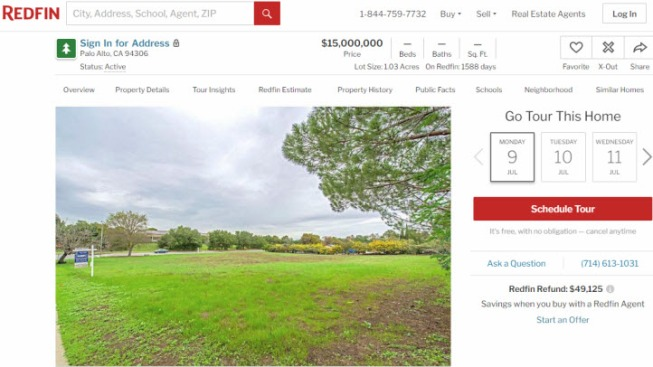 Asking Price for a Vacant 1-Acre Lot in Palo Alto? $15 Million