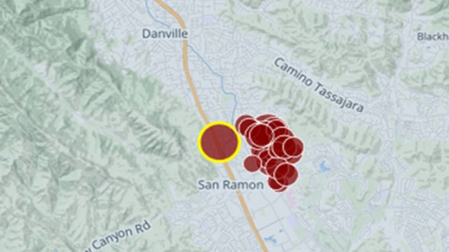 San Ramon Earthquake Map.Flurry Of Small Earthquakes Strike San Ramon Area Nbc Bay Area