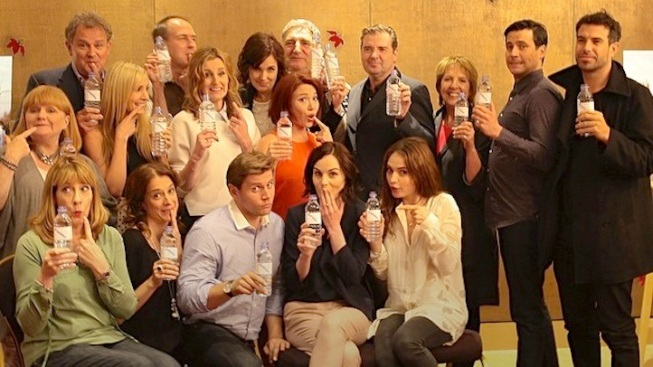 """Downton Abbey"" Cast Pokes Fun at ""Water Bottle-Gate"" for Charity"