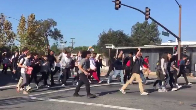 High School Protesters Marching Through Peninsula