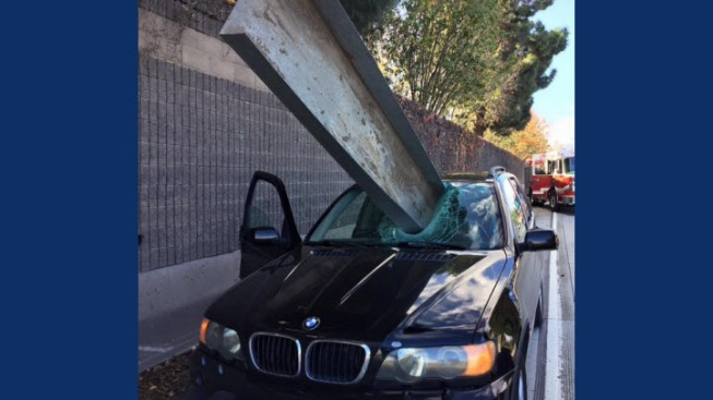 'Lucky' Driver Suffers Scratch on Arm When Metal Tray Loader Crashes Through BMW's Windshield
