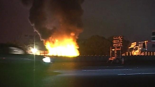 Fiery Crash Shuts Down I-80 Overnight
