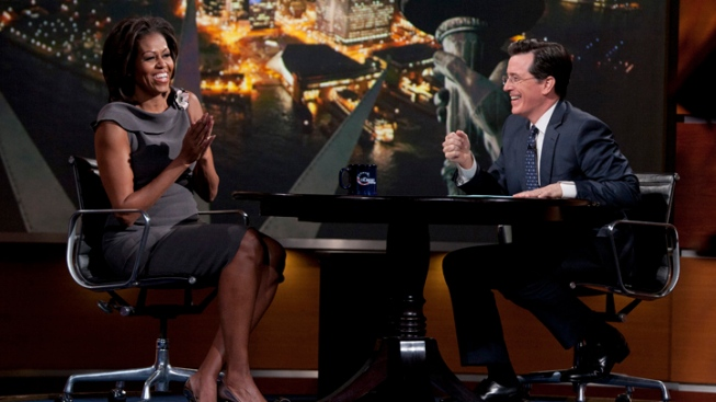 Stephen Colbert Hosts Michelle Obama