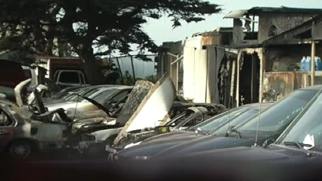 Fire at Towing Yard Destroys Several Cars