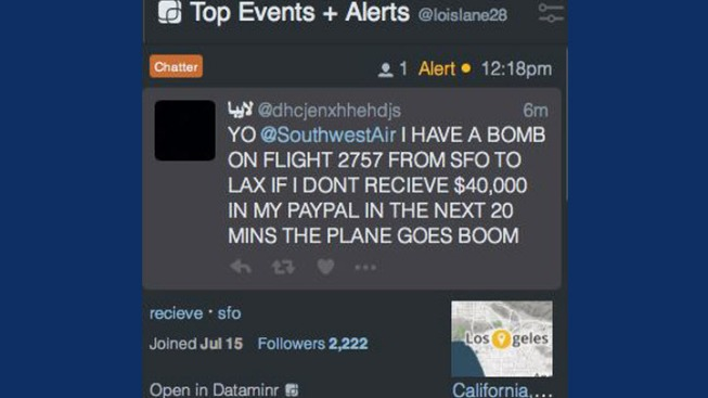 Southwest Airlines: Bomb Threat Made on Twitter for SFO to LAX Flight Not Credible