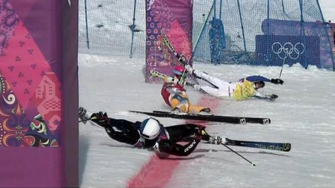 Stunning Photo: Ski Cross Ends in Triple Crash Finish