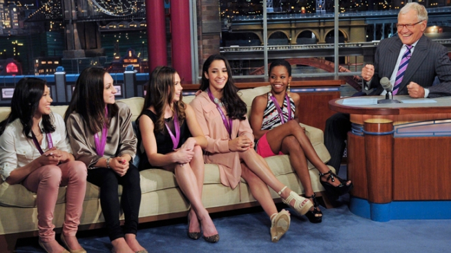 Gymnastics' Fierce Five Look Impressive, But Not Impressed, for David Letterman