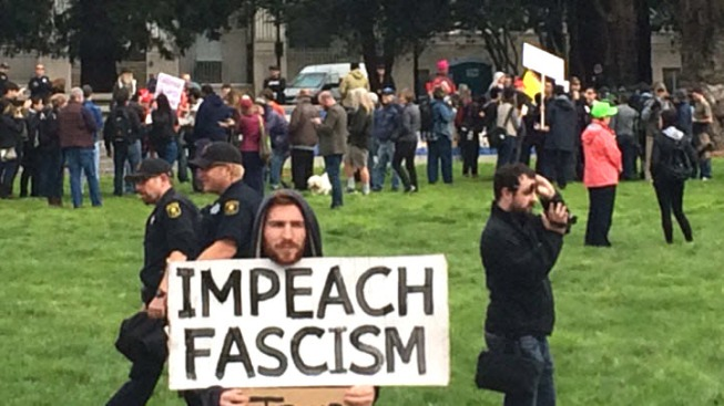Pro- and anti-Trump campaigners face off in Berkeley