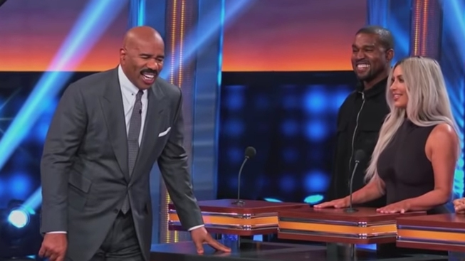 Kanye West All Smiles on 'Celebrity Family Feud' Despite Loss to Kardashian Family