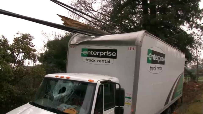 Power Lines Fall on Top of Truck After Crash Near Sebastopol