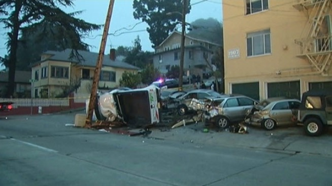 Driver in Stolen U-Haul Crashes, Flips in Oakland